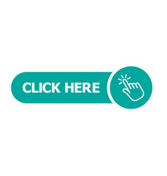 click here button with hand pointer clicking vector image