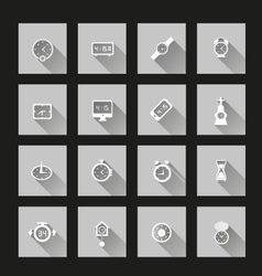 Clock icons long Shadow vector