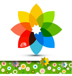 colorful flower symbol with flowers on garden vector image