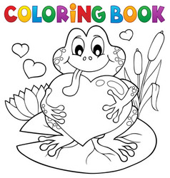 coloring book valentine frog vector image