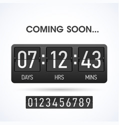 Coming soon countdown website timer template vector