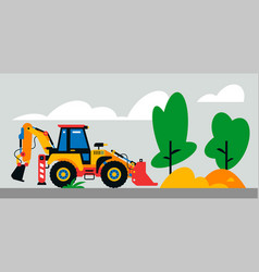 construction machinery works at site vector image