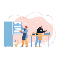 couple cooking at home vector image