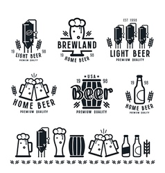 Craft beer brewery emblems barley vector