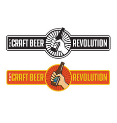 craft beer revolution badge or label design vector image