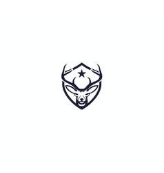 creative deer black shield logo design vector image