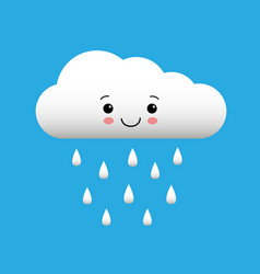 cute happy cloud with rain drops spring or autumn vector image