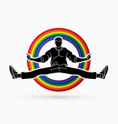 Dancer hip hop street dance b boy dance action vector