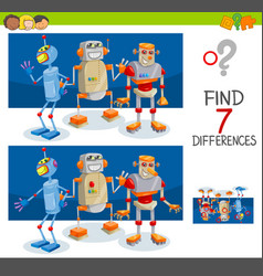 differences game with robot characters vector image