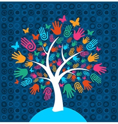 Diversity tree hands background vector image