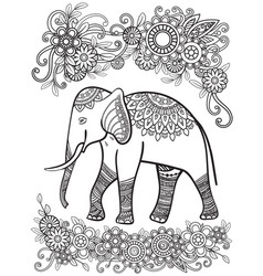 ehtnic elephant coloring page vector image