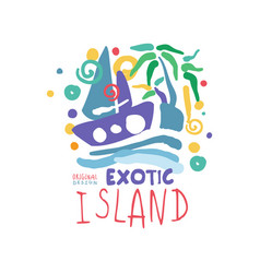 exotic summer vacation colorful logo vector image