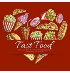 Fast food poster in heart shape vector image