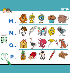 First letter a word educational task for kids vector
