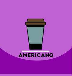 Flat icon design collection americano to go vector