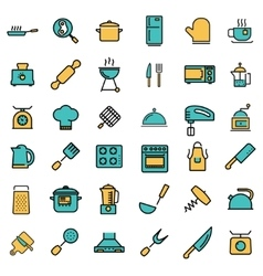 flat line kitchen and cooking icons set vector image