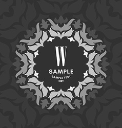 Floral Luxurious Ornamental Logo Monogram Gray vector