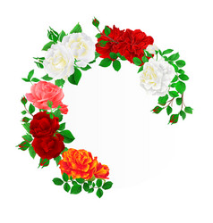 Foral round frame with roses and buds vintage vector