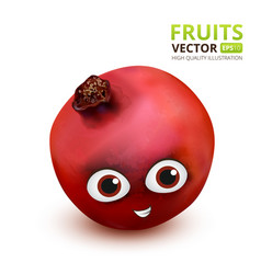 funny and cute pomegranate cartoon mascot vector image