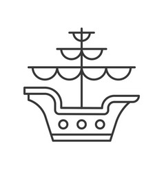 Galleon outline icon on white background vector