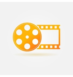 Gold cinema or movie logo vector image