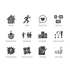 Grammar education flat glyph icons set parts of vector