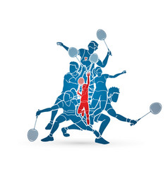group badminton player action cartoon graphic vector image