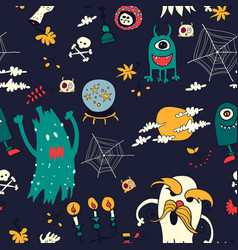 Halloween hand drawn seamless retro pattern vector
