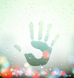 Handprint on Sweaty Window vector