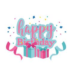 happy birthday gift box ribbon background i vector image