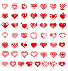 heart form logo types icons set simple style vector image