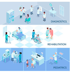 Hospital staff isometric horizontal banners vector