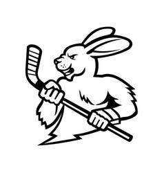 jackrabbit with ice hockey stick mascot black and vector image