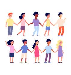 Kids holding hands multicultural people cartoon vector