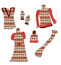 Knitted clothes with pattens for winter vector