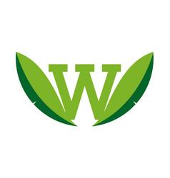 letter w leaf logo icon nature concept vector image