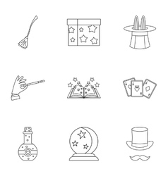Magic icons set outline style vector