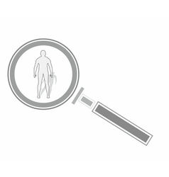 Magnifying glass and human vector