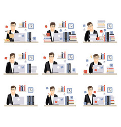 Male office worker daily work scenes with vector