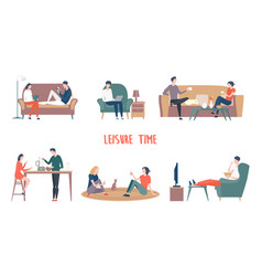 Man and woman leisure family at home vector