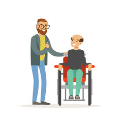 meeting of friends two men talking one disabled vector image