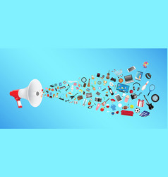 megaphone with general shopping objects vector image