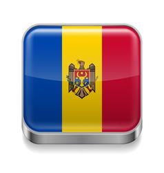 Metal icon of Moldova vector image