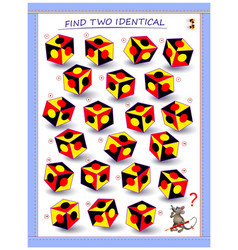 Need to find two identical cubes logic puzzle vector