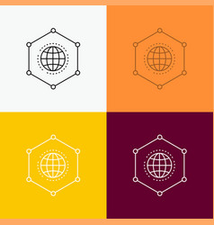Network global data connection business icon over vector