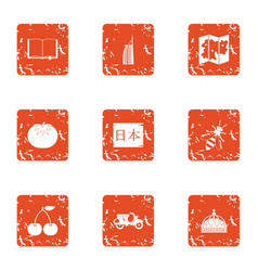 Nippon icons set grunge style vector