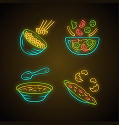 organic food neon light icons set rice vegetables vector image