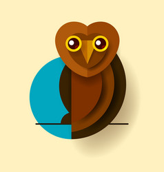 owl or eagle-owl bird isolated icon wild forest vector image
