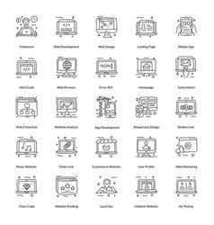 Pack web line icons vector