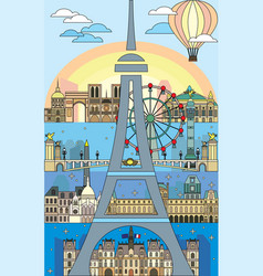 Paris colorful line art 6 vector